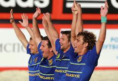 Игроки сборной Украины по пляжному футболу