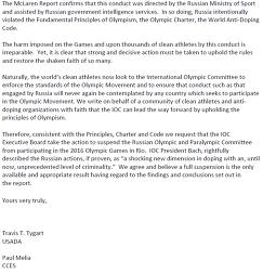 Фрагмент текста копии письма Американского антидопингового агентства (USADA) в адрес президента МОК Томаса Баха