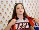 Гимнастка Алия Мустафина на торжественной церемонии встречи сборной России, прибывшей с I Европейских игр